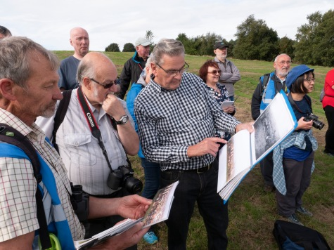 Jim Rippin (centre) leading the Then and Now walk over the Rowley Hills